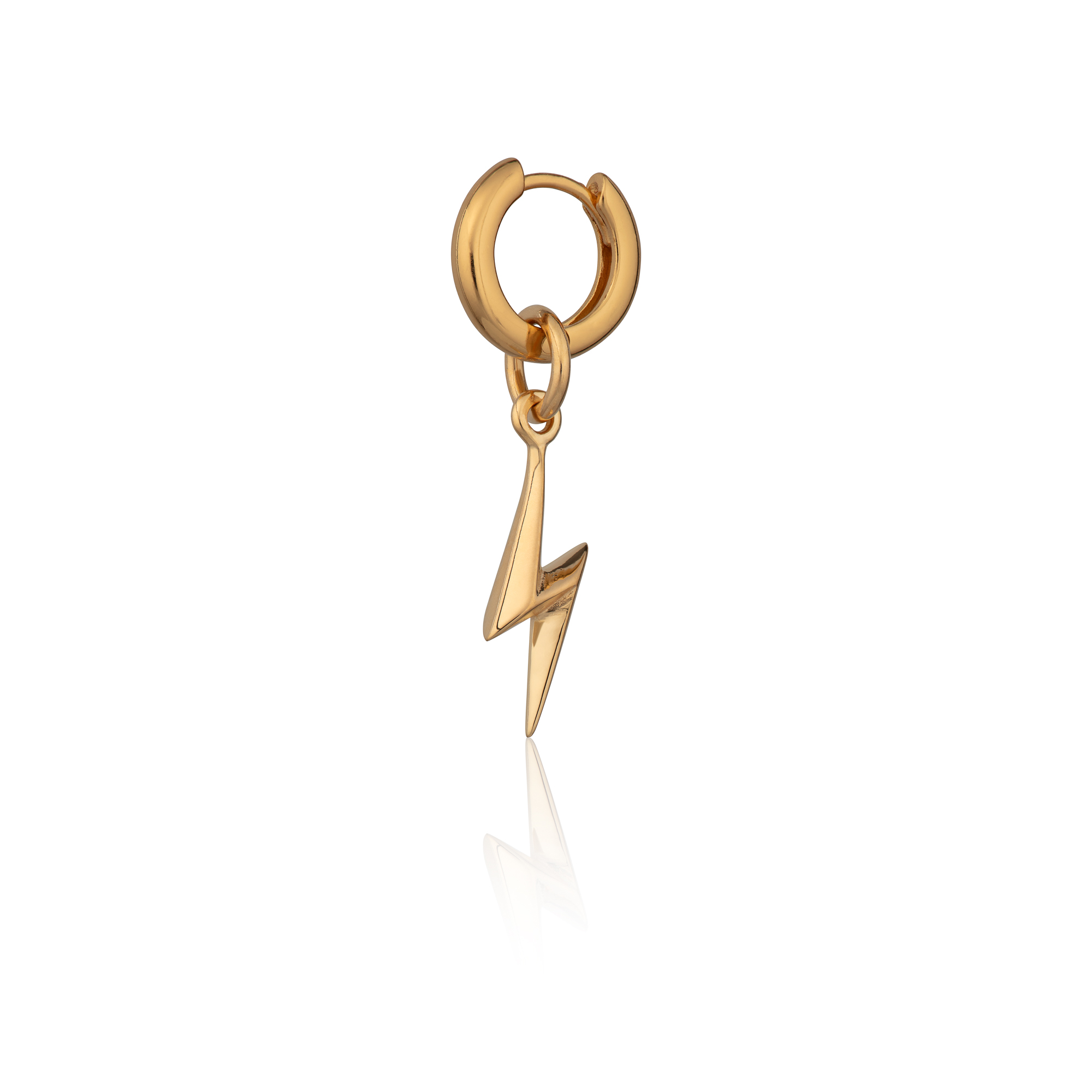 Gold Lightning Bolt Huggie Hoop Single Earring SPG 162 CGBOLT