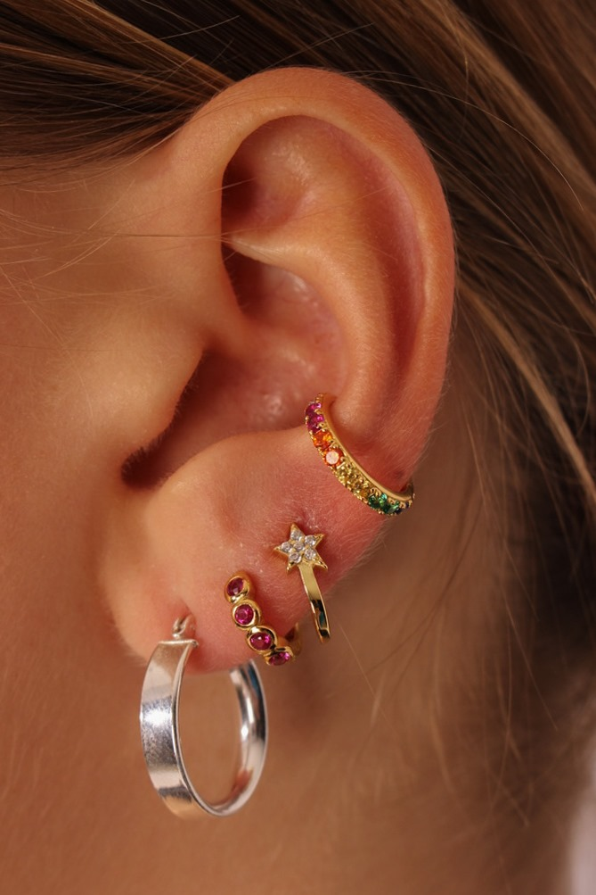 PRODUCT PHOTO rainbow ear Cufflink shooting star romilly silver hoops