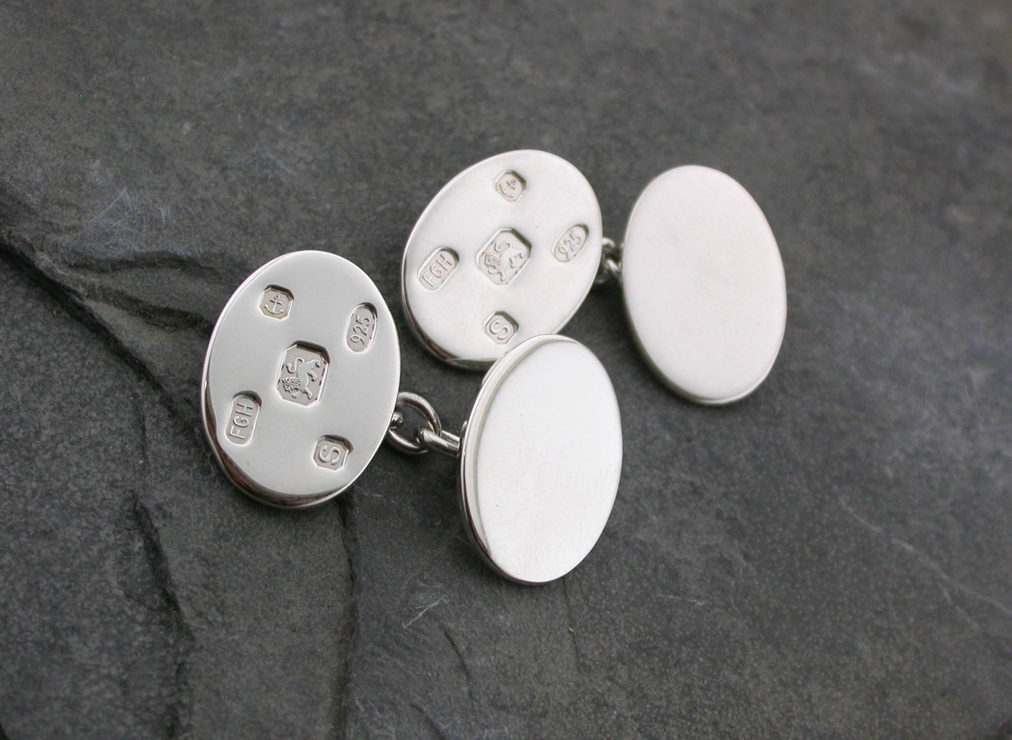 traditional hallmarked oval cufflinks S